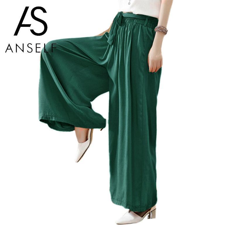 Romacci Women Summer Casual Loose   Wide     Leg     Pants   Elastic Waist Trousers Cotton Linen Long Flared   Pants   Black Pantalon Femme 2019