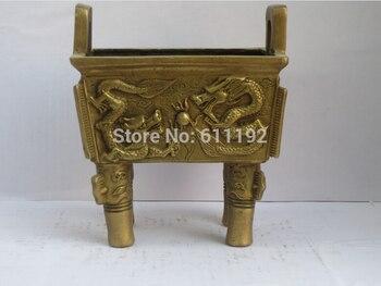 Antique Imitation Home Decoration Brass Metal Crafts,Hand-carved Dragon Tripod Censer