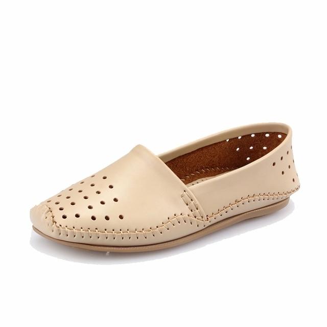 32fc631396b 2016 spring Women genuine leather flat shoes soft leather Loafers shoes  women cutout flats Shoes Slip-on ballet flats 2022