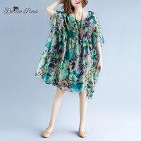 BelineRosa 2019 Holiday Beach Style Chiffon Dresses Summer Printing Plus Size Dress Hawaii Beach Women Clothes 5xl 6xlXMR00096