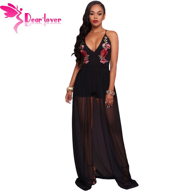 53e8f3bf858 Dear Lover Sexy spaghetti strap Black Floral Embroidery Romper with Maxi  Mesh one piece outfits Women playsuit Overalls LC64251