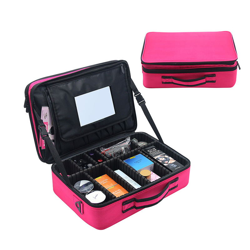 2018 New Large Multi-storey Professional Make Up Package Bag Nail Pattern Semi-permanent Tool Box Cosmetic Case with Mirror professional black multilayer trolley make up tattoo case large capacity with mirror storage box cleaning tools tattoo supplies