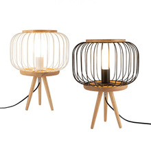 Japanese Solid Wood Table Lamp White Black Wrought Iron Cage Sconces EU/US Plug in Standing LED Light For Bedside Living Room