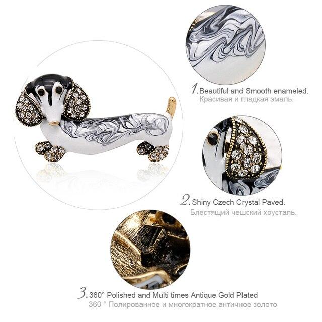 ALLYES Cute Dachshund Dog Brooches For Women Fashion Metal Crystal Enamel Animal Brooch Jewelry 1