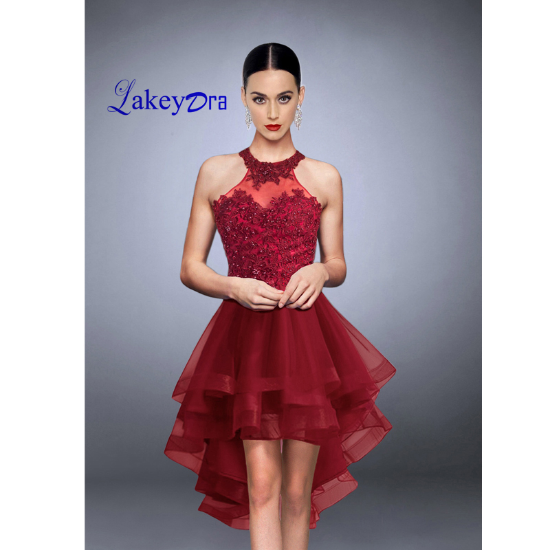 ee411b87399 Lakeydra A Line Homecoming Dresses Burgundy Tulle with Appliques Hi Lo  Backless 2019 Short Party Prom Gown Graduation Dress-in Homecoming Dresses  from ...
