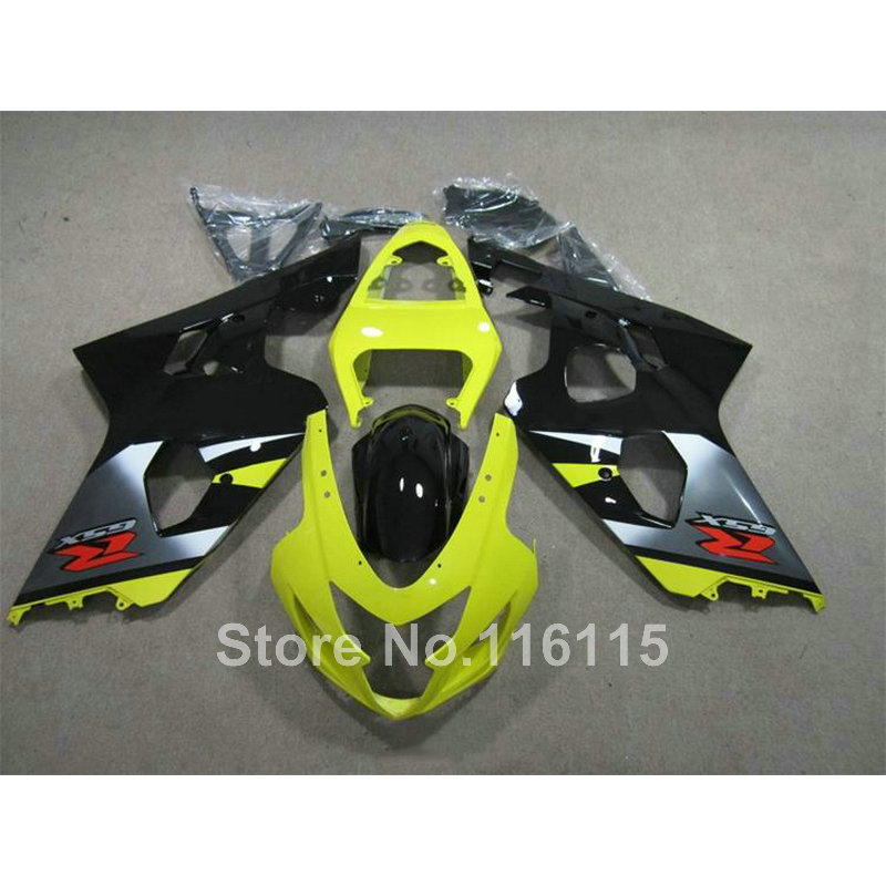 Motorcycle fairing kit for SUZUKI GSXR600 K4 K5 2004 2005 black yellow GSXR 600 GSX-R 750 04 05 fairings TY38 подушки classic by t подушка пух в тике 70х70