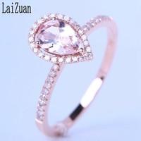 LaiZuan Solid 10k Rose Gold Flawless Pear 0.54ct Natural Morganite Diamonds Engagement Ring Women Wedding Gemstone Fine Jewelry
