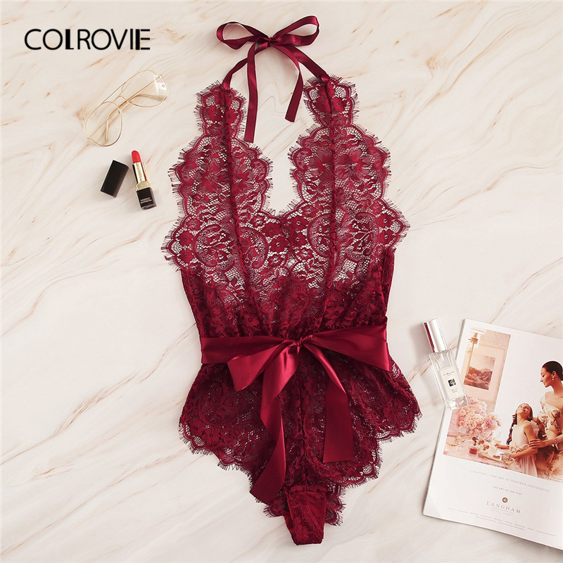 COLROVIE Burgundy Floral Lace Scallop Knot Halter Sexy Lingerie Teddy Bodysuit Women Pajamas 2019 Summer Sleepwear Nightgowns