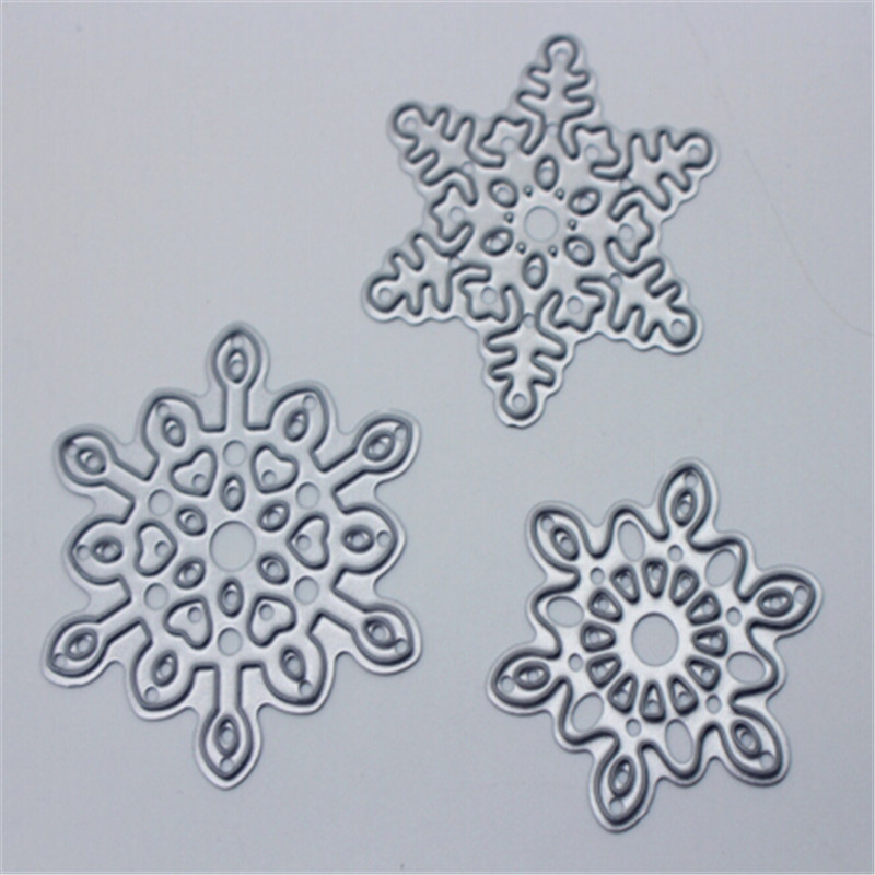Snow 3 sets Metal Die Cutting Scrapbooking Embossing Dies Cut Stencils Decorative Cards DIY album Card Paper Card Maker m word hollow box metal die cutting scrapbooking embossing dies cut stencils decorative cards diy album card paper card maker
