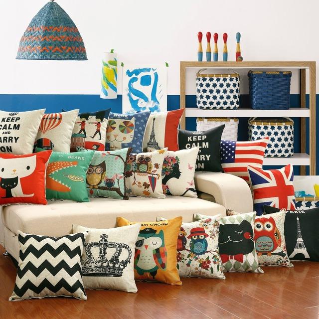 SunnyRain 1-Piece Cartoon Pillow Cover Decorative Pillowcase Linen Cotton Printed Square Throw Pillow Case Owl 45x45cm