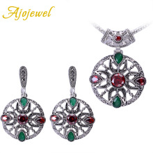 Ajojewel Silver Plated Round Vintage Flower Colorful Zircon Earrings And Pendant Necklace Sets For Women a suit of graceful solid color flower necklace and earrings for women