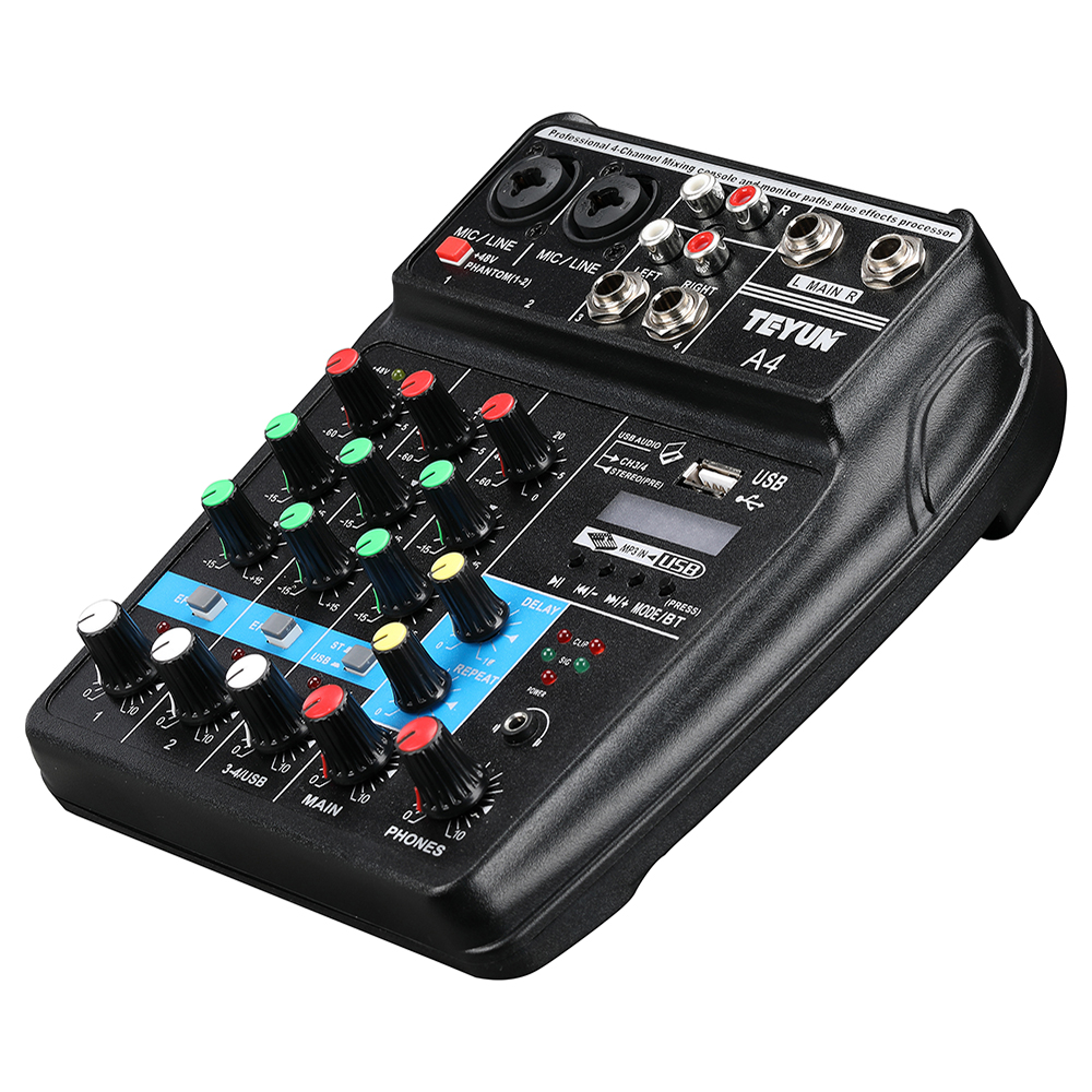 Image 4 - A4 Sound Mixing Console with Bluetooth Record Mini Audio Mixer with USB Professional 4 Channels DJ Karaoke KTV Meeting-in Stage Audio from Consumer Electronics