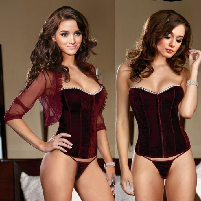 8e6a287cba8 Model 2207 velvet sexy Corset Women Bustiers   Corsets Corset+G string  2-piece hot sell sexy clubwear factory supplier