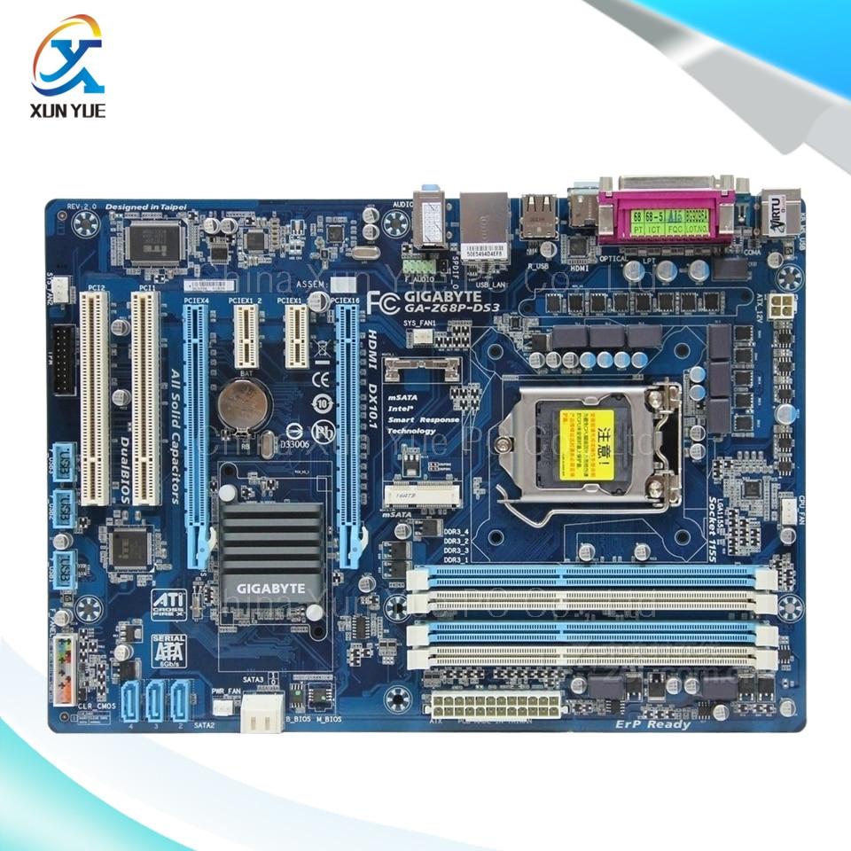 ФОТО Gigabyte GA-Z68P-DS3 Original Used Desktop Motherboard Z68P-DS3  Z68 LGA 1155  i3 i5 i7 DDR3 32G SATA3 ATX