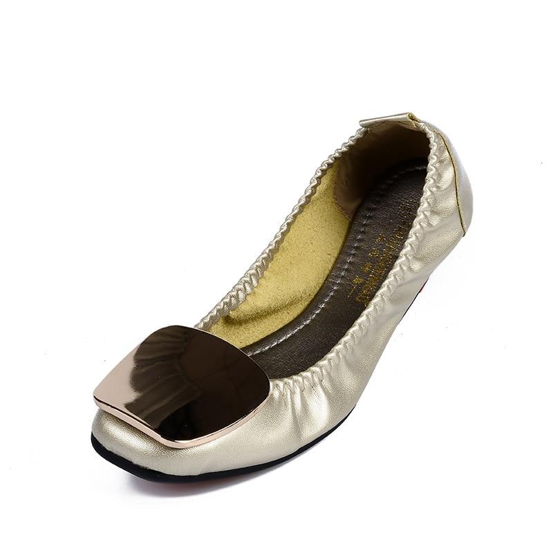 Mocassins Pour Appartements Autumm Chaussures Bout Mode blanc Femmes Métal Noir Solide on Printemps argent Carré Loisirs Microfibre Décoration Slip En Caoutchouc or gwxnqxYBZ
