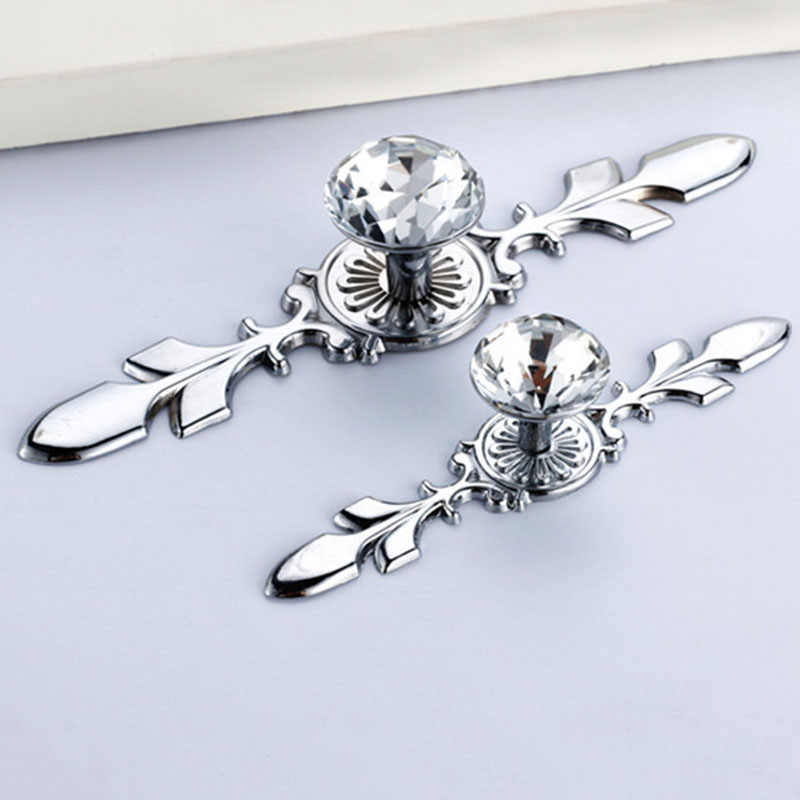 Limited Top Brand High Quality Glass Diamond Crystal Shoebox Cabinet Closet Knobs Door Drawer Wardrobe Pull Handles Sliver