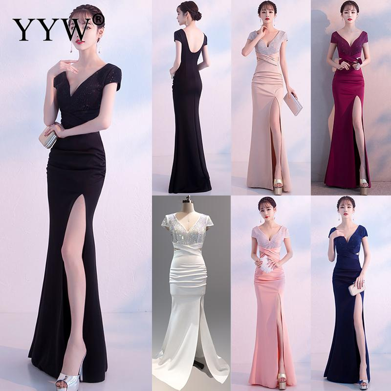 Robe De Soiree Sexy Deep V-Neck Sequined Dress Women Backless Elegant Mermaid Evening Gowns Side Slit Long Celebrity Party Dress