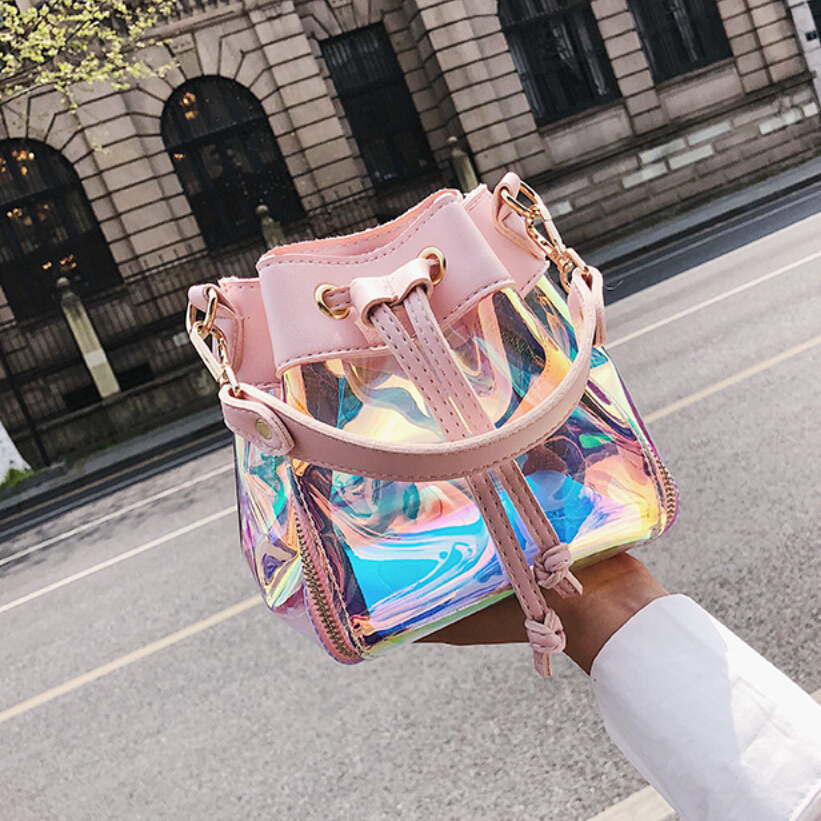 Hologram Shine Pu Leather Laser Bucket Women Bag Girl Crossbody Shoulder Bag Holographic bag Composite Bag