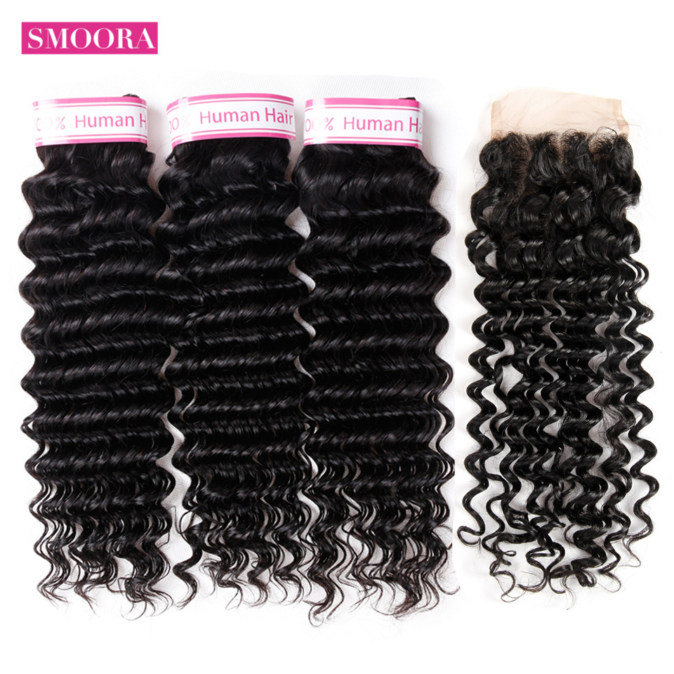 Brazilian Deep Wave Bundles with Lace Closure 4*4 Human Hair Weave 3 Bundles with Closure Non Remy Hair Extensions Smoora