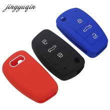 jingyuqin Silicone Flip Car Key Case Skin for Audi A1 A3 A4 Cabriole A6 TT Allroad Q3 Q7 R8 S6 SQ5 RS4 Remote Fob Cover Protect