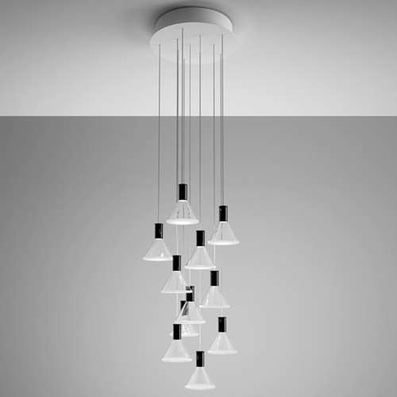 Polair 10 Light Round/ Rectangular Multispot Pendant from Fabbian Suspension Lighting Fixture Hanging Lamp for Restaurant Hotel