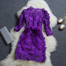 2015 water soluble lace openwork bow sleeve purple top embroidery dress
