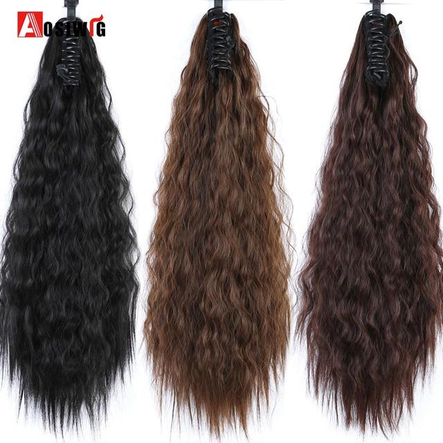 AOSIWIG dos tipos de longitud de pinza de garra rizada extensiones de pelo de cola de caballo de fibra de alta temperatura pelo largo negro pelo sintético