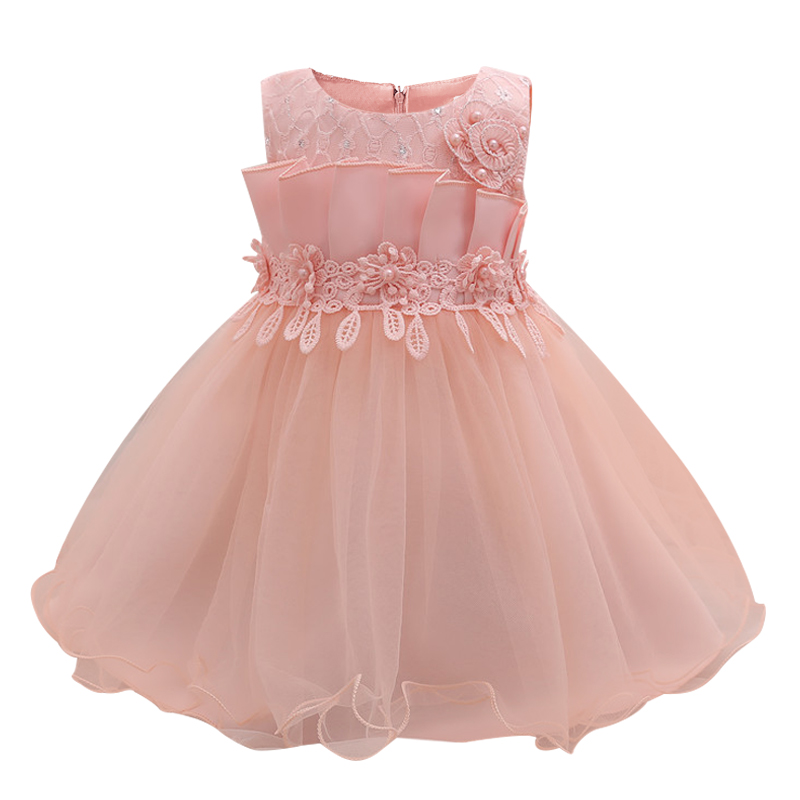 Pink Toddler Girl Summer Party Dress 1 Year Baby Girl Birthday Dress Newborn Bebes Tutu Tulle Outfit Infant Kids Baptism Clothes