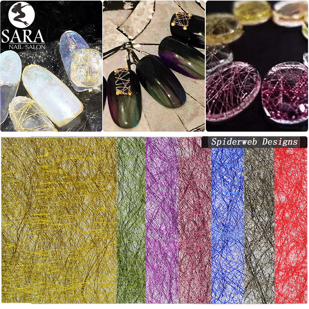 15pcs/Set New Glimmer Nail Art Decoration Set Spider Web Design Light Colorful Tape Line DIY Grid Guider Tips Manicure SAGW01-15 10 color 20m rolls nail art uv gel tips striping tape line sticker diy decoration 03ik