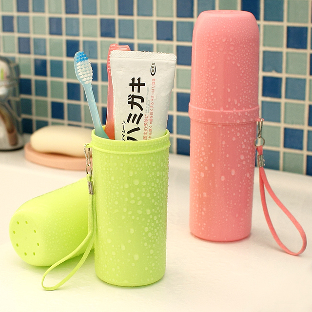 Portable Plastic Toothbrush Holder Toothpaste Towel Cover Storage Box Tooth Mug for Outdoor Travel Camping Hiking