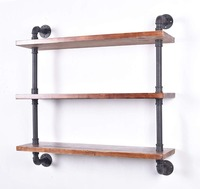 Industrial Pipe Shelf Bookshelf Rustic Modern Wood Ladder Storage Shelf 3 Tiers Retro Wall Mount Pipe Dia 32mm Wall Shelves
