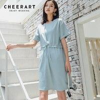 Cheerart Light Blue Dress Summer Drawstring Waist Lace Up Straight O Neck Simple Casual Dress Robe Femme 2018
