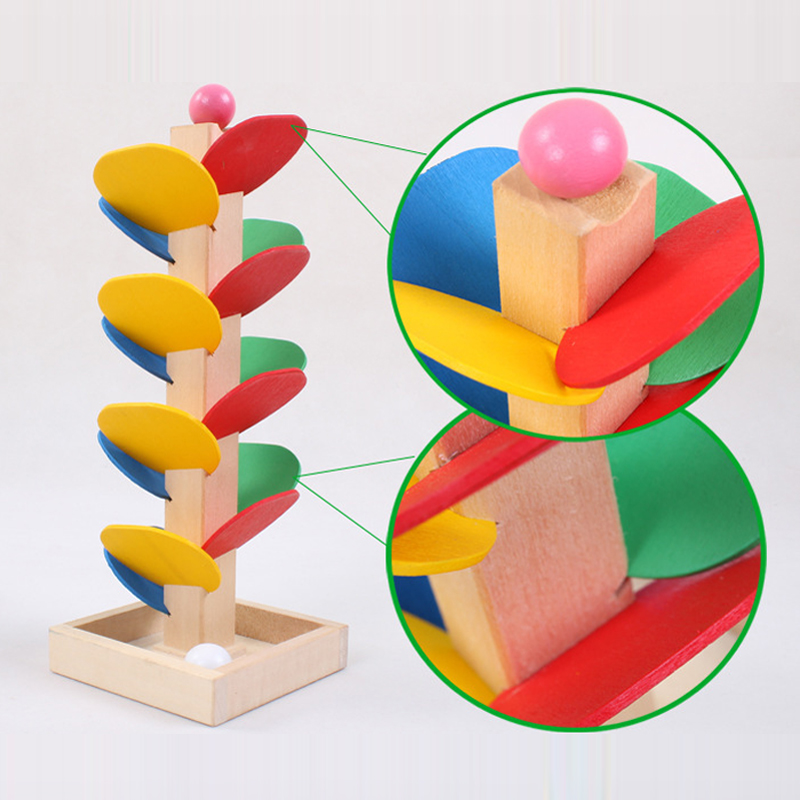 Children DIY Wooden Toys Baby Colorful Building Blocks Wood Tree Ball Run Track Toys Kids Game Toy Montessori Educational Toy