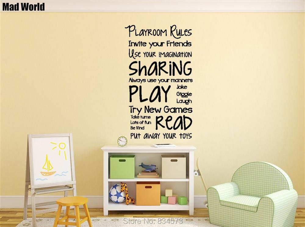Mad World PLAYROOM RULES Children Play Wall Art Stickers Wall Decal Home DIY Decoration Removable Room Decor Wall Stickers-in Wall Stickers from Home ...