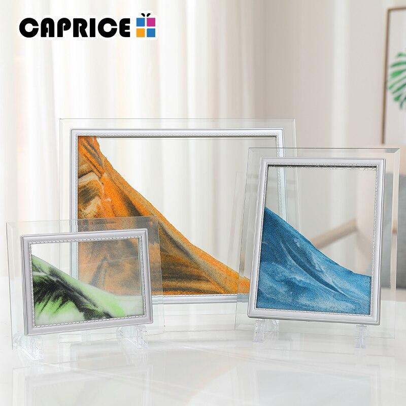 Líquido Areia Quadro de Imagem Da Paisagem Pintura da Foto do Quadro Mutável Enfeites de Vidro Que Se Deslocam Home Office Decor WMSLH