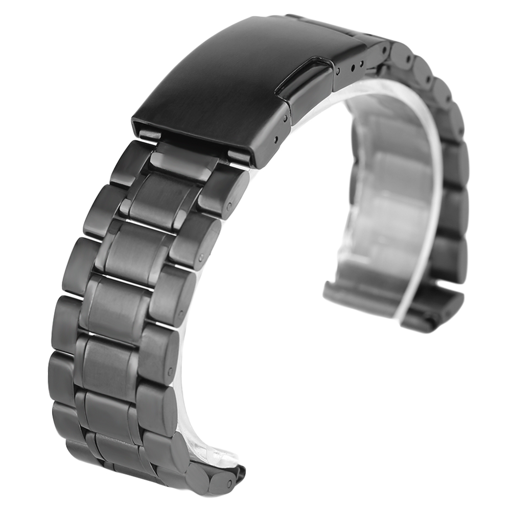 Black Mens Stainless Steel Watch Band Metal Bracelets For Men Wrist Watches 18mm/20mm/22mm Fold Over Clasp Watch Strap for Hour watch band 22mm new mens black pure polished solid stainless steel watch bands strap bracelets free shipping