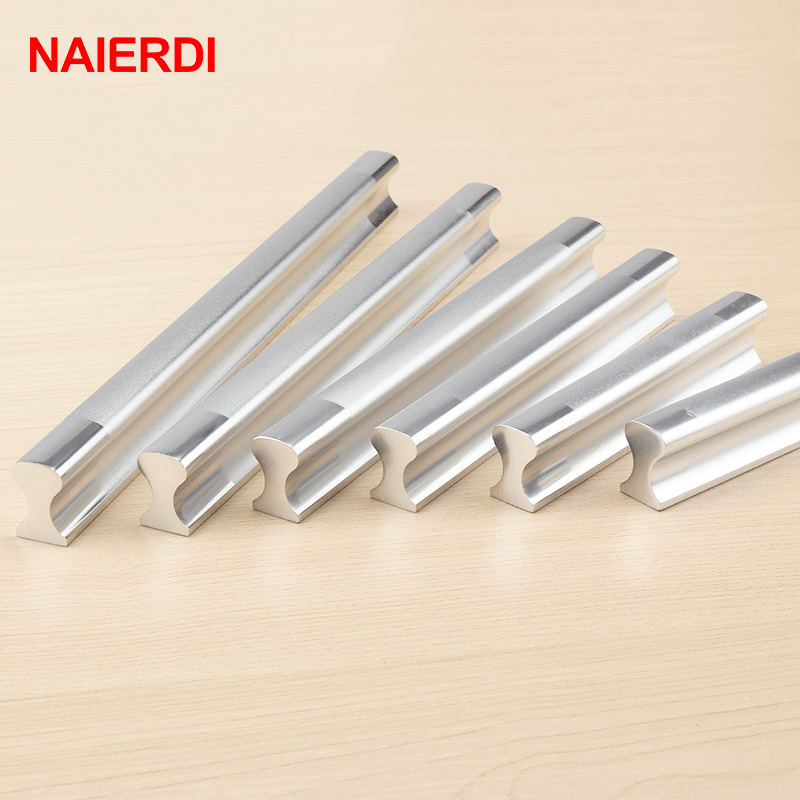 5PCS NAIERDI Aluminum Alloy Handles Kitchen Door Modern Wardrobe Handle Drawer Pulls Cupboard Cabinets Knobs Furniture Hardware chrome plated modern handle c c 192mm l 218mm h 23mm drawers cabinets