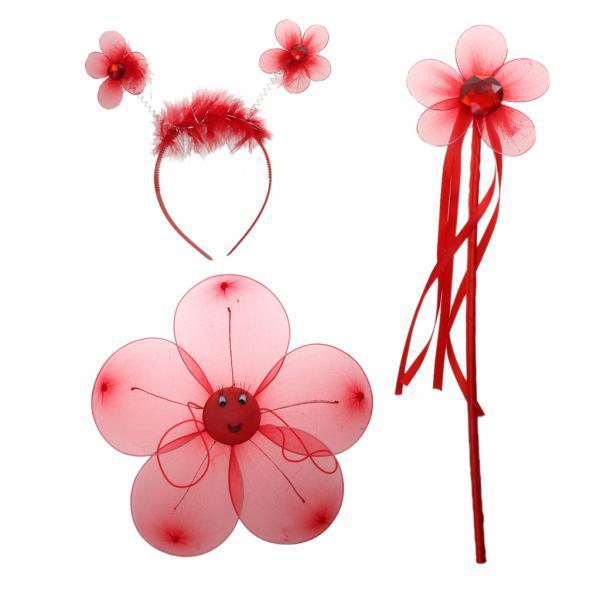 Fairy Princess Kid Costume Sets Girls Flower Wings Wand Headband Red