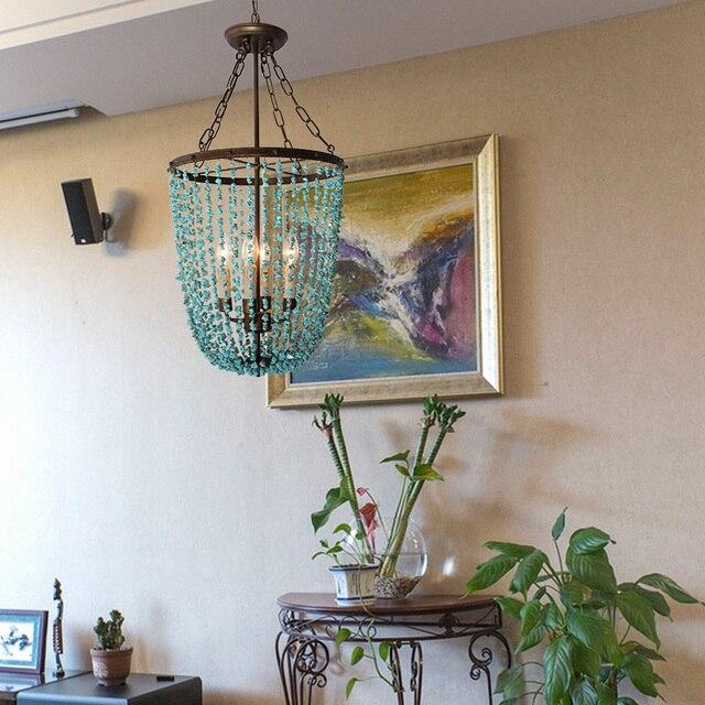 Cafe LED Green stone Pendant lights Lampe bar Turquoise E14*4 retro Iron loft Light for Dining Room Boutiques green pendant lamp