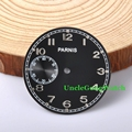 Watch Parts,Parnis 38.83mm Black Dial for 6497 Hand Winding Movements, Second Dial at 9 c'clock Watches Dials D38.83BK