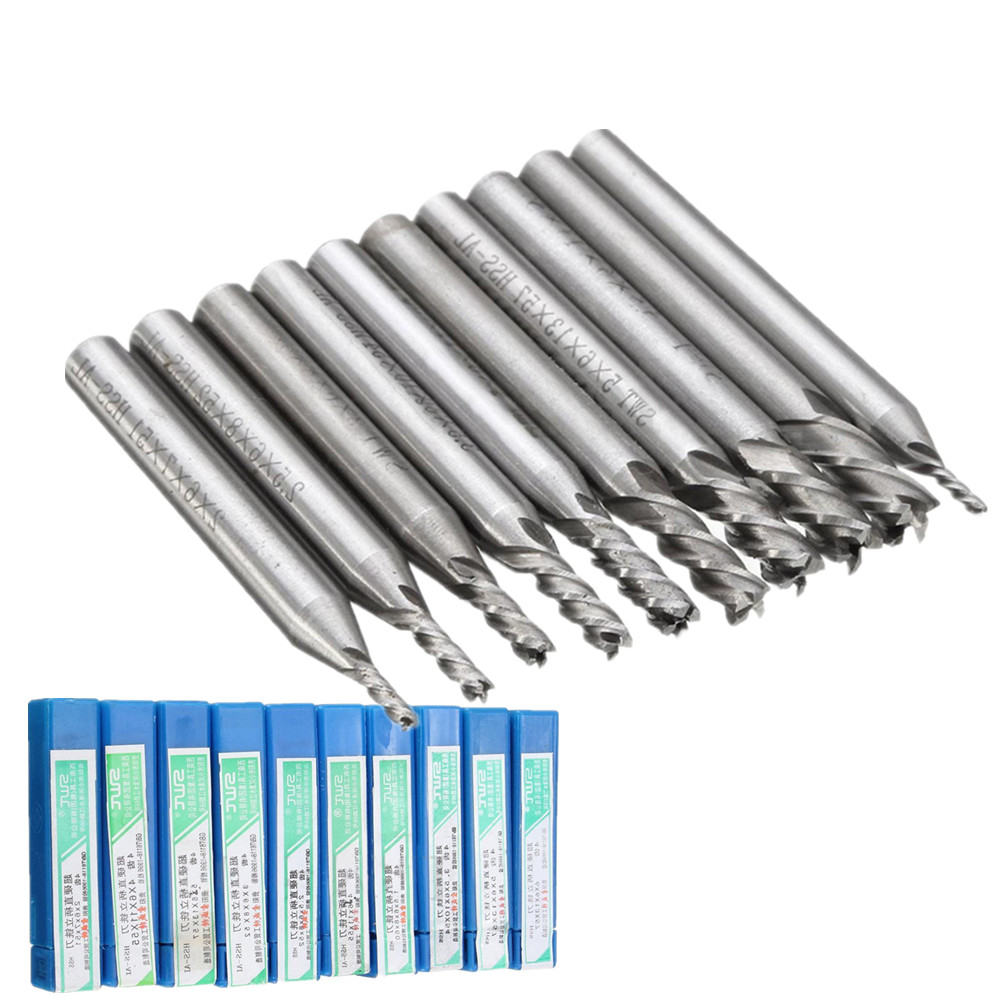 10pcs/set 4 Flute End Mill Set HSS Straight Shank Milling Cutter Router Bit Set CNC Tools 1.5/2/2.5/3/3.5/4/4.5/5/5.5/6mm 3 175 12 0 5 40l one flute spiral taper cutter cnc engraving tools one flute spiral bit taper bits