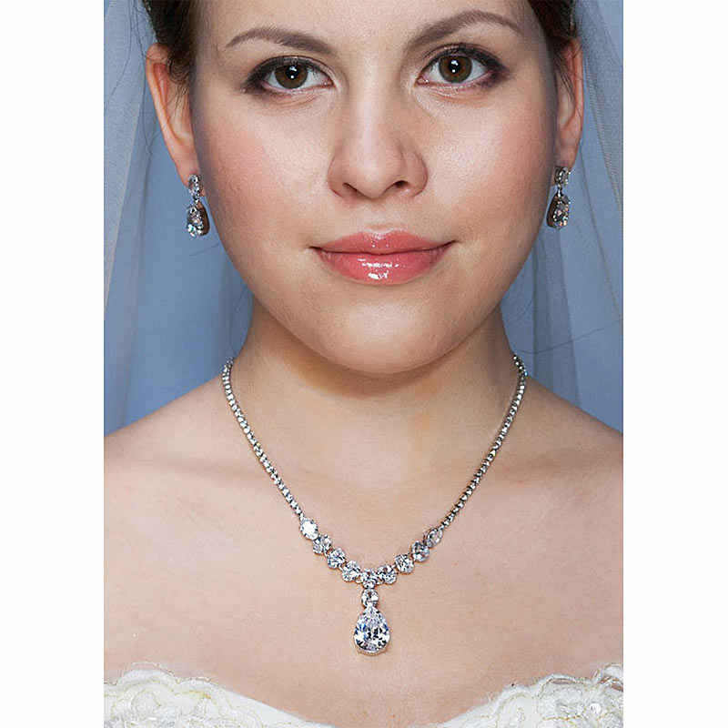 Bridal Wedding Bridesmaid Party Quality 7 Carats Necklace Earrings Jewelry Set CS1229