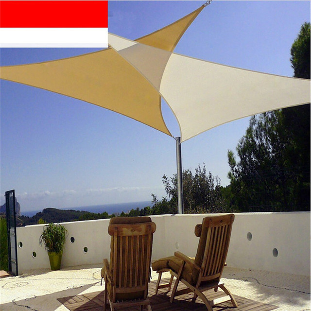 Outdoor Courtyard Swimming Pool Anti-UV Waterproof Triangles Sun Shade Sail Shade Net Awning Gazebo & Outdoor Courtyard Swimming Pool Anti UV Waterproof Triangles Sun ...