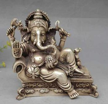 Collectible Old Handwork Silver Plate Copper India Wealth God Recline Statue