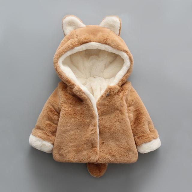 Niño Niño Grueso Abrigo de Invierno Cálido Bebé Abrigo De Pieles de manga larga chaqueta de invierno infantil de alta calidad recién nacido clothing whith oídos