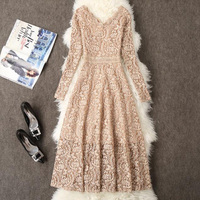 2019 Spring Women Long Sleeve Lace Dress Big Size M 3XL Dress Elegant Lady Long V neck Dressess Vestidos Autumn Bottomings