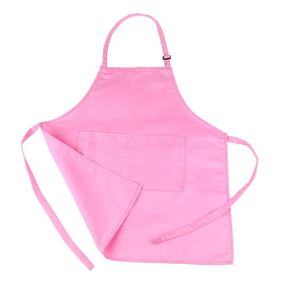 3 цвета, милый детский фартук с рисунком, фартук без рукавов, фартук с карманами, кухонный фартук, художественный нагрудник - Цвет: pink