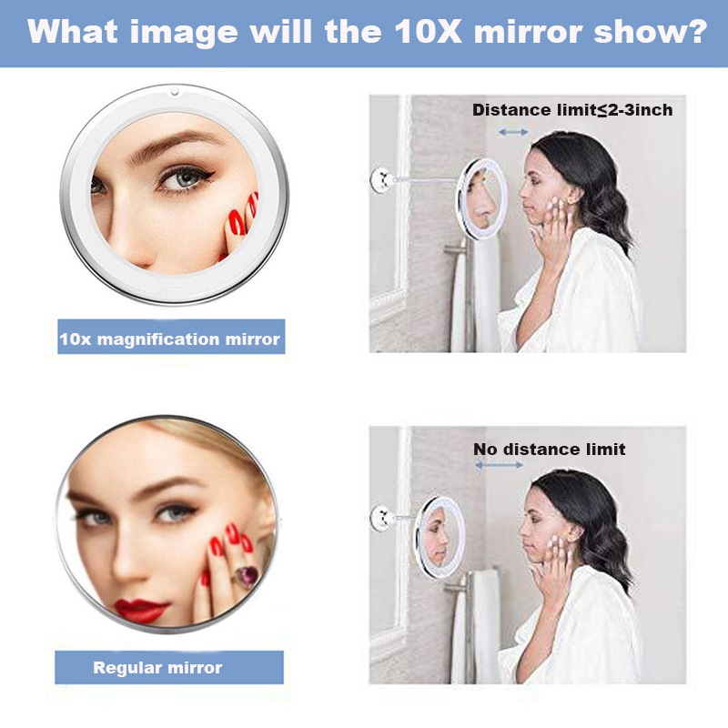 360 Degree Rotation 10X Magnifying Makeup Mirror My Flexible Mirror Folding Vanity Mirror with LED Light Makeup Tools Dropship 6