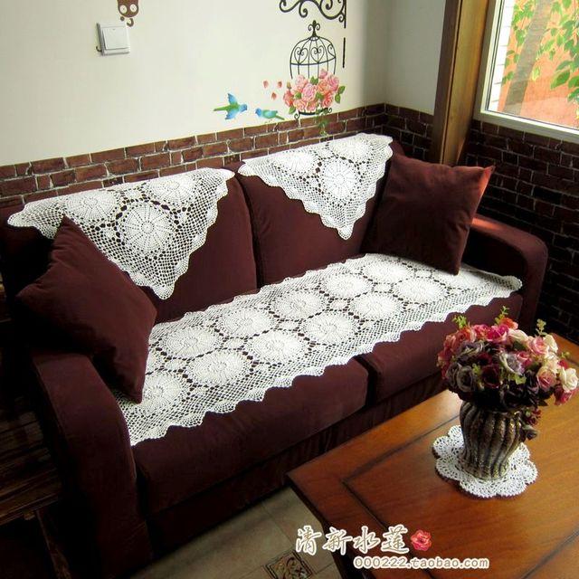 2014 Fashion Design Cotton Crochet Lace Sofa Cover Handmade Three