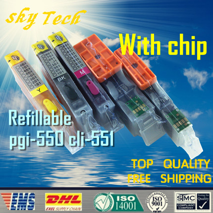 [Full ,With Chip ]Refillable cartridge Suit for PGI550 CLI551 , Suit For Canon IP7250 MG5450 MX925 MX725 , With permanent chips 5 color ciss system for canon pgi 550xl cli 551xl pgi550 cli551 550 for canon mg5450 ip7250 7250 printer with arc chip